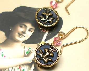 LILY Antique mini BUTTON earrings, Edwardian tiny flowers on gold, One of a kind jewellery.