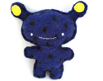 Cobalt Blue Alien - Recycled Wool Sweater Plush Toy
