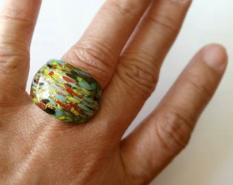 Murano glass . multicolor chunky / statement ring . size 6
