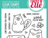 Avery Elle Clear Photopolymer Rubber Stamp Set- Wood You ?