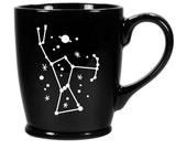 Orion Constellation Mug - Black - dishwasher/microwave safe ceramic space coffee cup