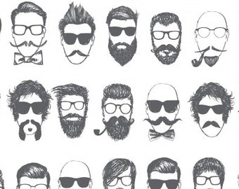 dear Stella FABRIC - Hipster - Barbershop in White
