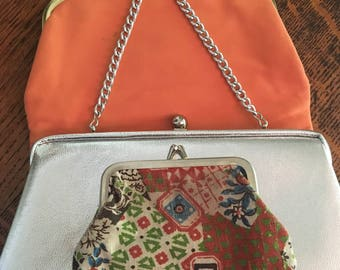 Vintage 1960s 3 Piece Lot Coral Silver Floral Frame Handbags OOAK epsteam