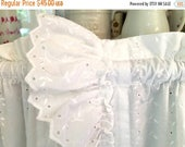 BIG SALE - White Eyelet Curtains with Ruffles