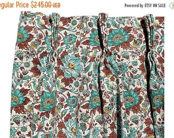 BIG SALE - Mid-century  Barkcloth Drapes, Pair - Turquoise Brown Draperies - Cotton Bark Cloth Drapes - Madmen Era Curtains - Retro Frabric