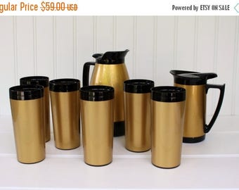 BIG SALE - Thermo-Serve Set, 8 Pieces - Tumblers and Pitchers, West Bend, Gold and Black Thermos - Hot Chocolate - Coffee Set - Serve Ware