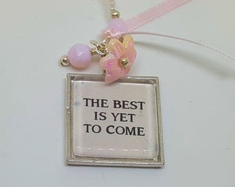 Inspirational Bookmark Book Thong Beaded Word Charm The Best is Yet to Come