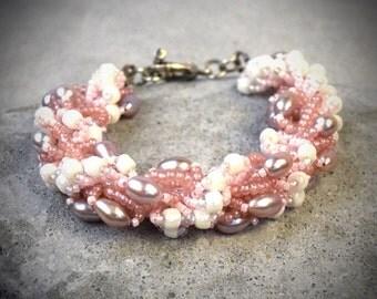 Pink Blush Bracelet - blush bridal jewelry - gifts for her 2016 - blush jewelry - silver blush jewelry - bridal jewelry - wedding jewelry