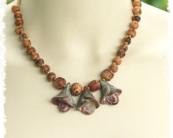 Polymer clay flower necklace - Boho floral necklace - Short boho necklace - OOAK Wearable Art - as seen in Belle Armoire Jewelry magazine