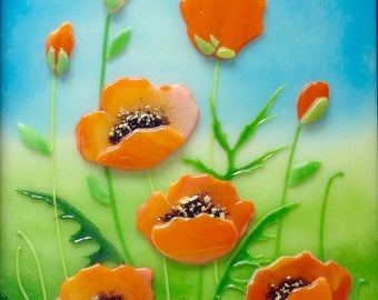California Poppies in Fused Glass