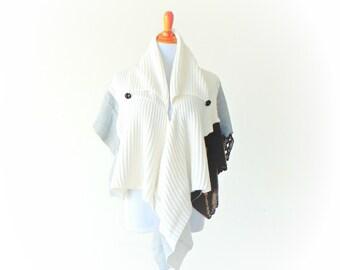 Cotton Weave, Lace & Sweatshirt Wrap ~ ruana shawl gypsy boho chic kimono cape handmade upcycled clothing sweater jacket wearable art