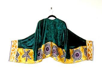 XL - Plus Sizes ~ Emerald Velvet and Tribal Summer Evening Jacket ~ tunic blouse kimono boho chic upcycled handmade clothing wearable art