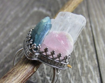 HOLIDAY SALE Angel Wings Ring - Raw Tourmaline and Angelic Petalite in Sterling Silver