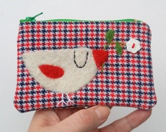 Zippered coin purse pouch purse red white blue wool fabric with a needle felted white birdie bird flower