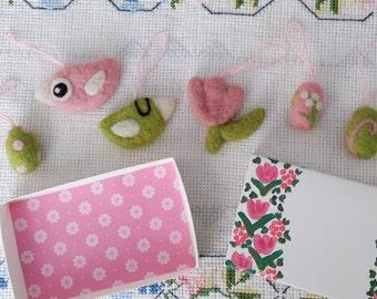 Set of seven handmade wool needlefelted Easter decoration ornament egg flower birdie bird