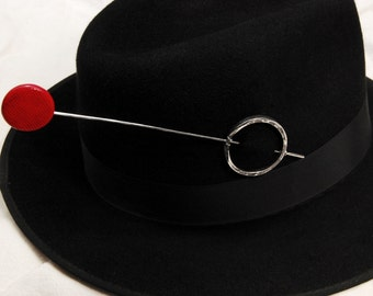 Stingy Hatpin - iron, silver, stainless steel, dyed bone