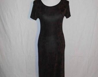 Closing Shop Sale 40% Off Vintage 90s  black brown floral long  dress, stretchy, long dress, grunge, punk, fitted