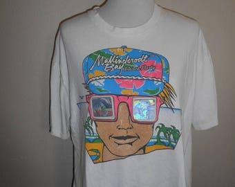 Vintage Neon holographic hologram 3D     Beach Party     surfer    tee t shirt             rare unique