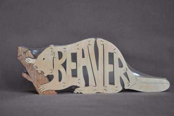 Beaver Animal  Puzzle Wooden Toy Hand Cut with Scroll Saw