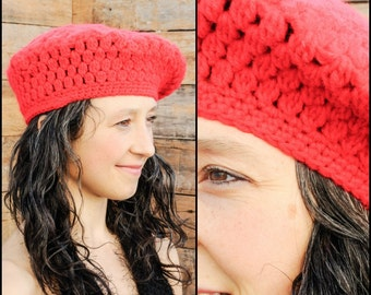 Beret, Red Hat, Crochet Hat, Crochet Beret, Red Beret, French Hat, HAND MADE, Womans Beret, Slouchy Beret, Knit Beret,