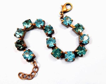 Rhinestone Chain Bracelet, Aqua Blue and Teal, Glass Rhinestone and Brass Beaded Bracelet, FREE Shipping U.S.