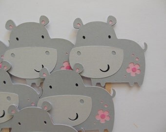 Hippo Cupcake Toppers - Zoo Animal Decorations - Gray and Pink Hippos - Girl Birthday Decorations - Girl Baby Showers - Set of 6