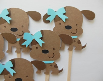 Puppy Dog Cupcake Toppers - Aqua and Brown - Girl Birthday Party Decorations - Girl Baby Showers - Set of 6