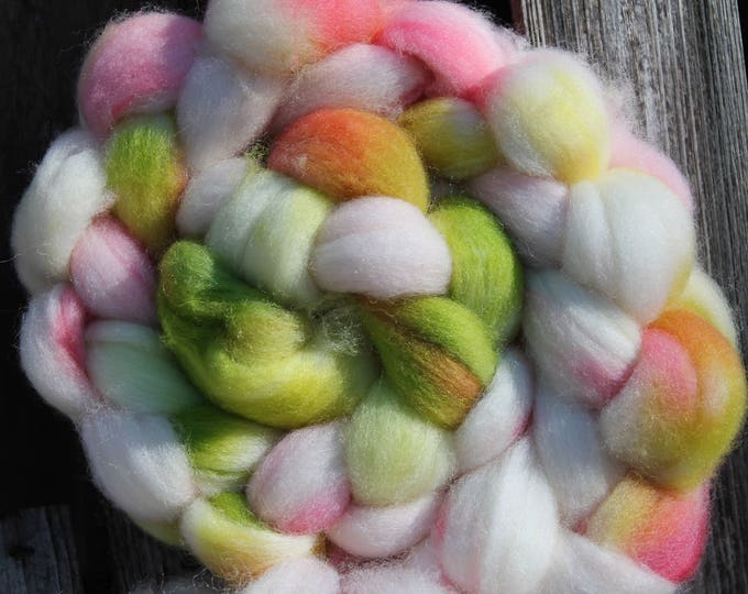 Kettle Dyed Falkland Wool Top.  Soft and easy to spin. 4oz  Braid. Spin. Felt. Roving. F157