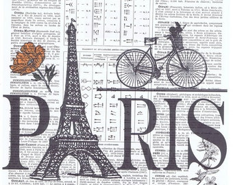 Paris,Bike.Eiffel Tower.Antique French.book page print.france.travel.europe.buy 3 get 1 FREE.home deco.eco.art.bicycle.rose.pretty picture