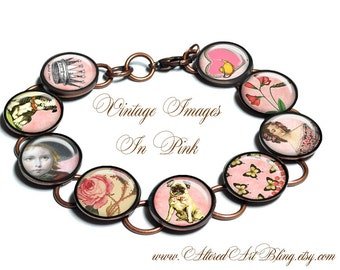 Vintage In Pink, bracelet, gift box,pastels, birds,dogs, pugs,victorian,vintage images, photo bracelet, custom jewelry,pink,roses,hearts,tea