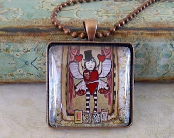 LOVE BUG, altered art pendants, gift boxed,Valentine's Day gifts, Valentine jewelry, love, romance, bridal gift, gifts for valentines