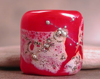 Chunky Lampwork Glass Focal Bead Nugget Red with Silvered Ivory Divine Spark Designs SRA