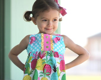 Baby Pineapple Dress - Baby Dress - Vacation Dress- Toddler Pineapple Dress - Baby Beach Dress - Beach Outfit - Baby Summer Outfit - Toddler