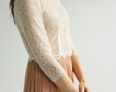 Sale -3/4 sleeve fine Lace wedding top separate--
