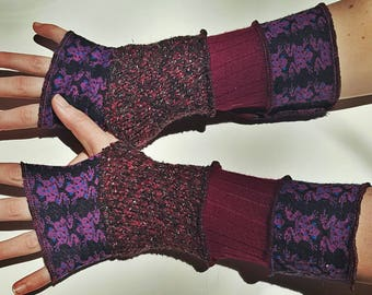 patchwork recycled sweater arm warmers - purple frogs, pink, red