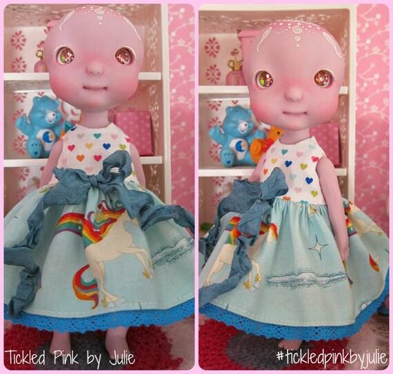 Tiny BJD Cerise Babydoll dress by Tickled Pink by Julie