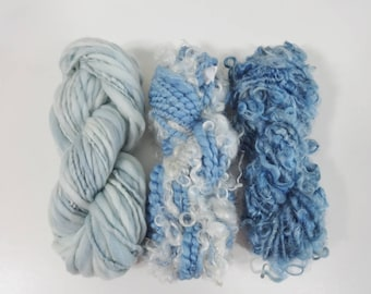 Handspun Art Yarn Knitting Weavers Pack 3 Mini Skeins Collection sky blue