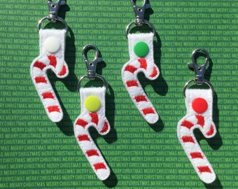 Candy Cane Keychain, Embroidered Snap tab, Christmas