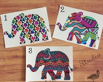 Elephant vinyl decal ~ patterned vinyl, choice of prints, various sizes! Great for tumblers! permanent vinyl sticker