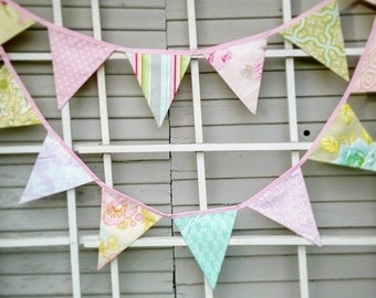 20% OFF Long Shabby Chic Bunting Feat. Reproduction Prints, Ready 2 Ship Photography Prop,  15 Fabric Flags, Pastels, Floral. Weddings and P