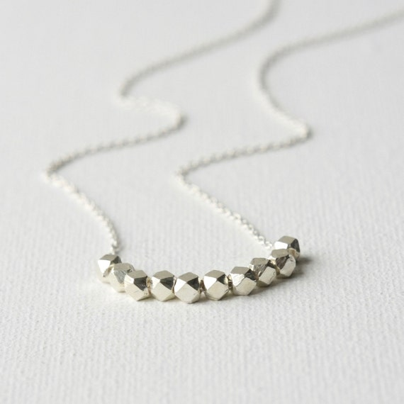 Sterling Silver Faceted Nugget Necklace, Silver Bead Necklace,  Minimal Jewelry, Jewelry Gift, Layering Necklace, Silver Jewellery