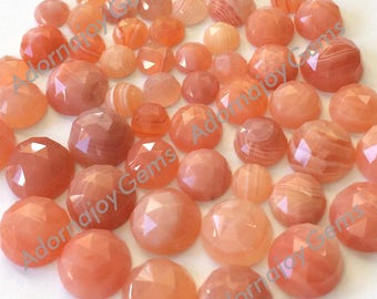 Gemstone Cabochon Agate Apricot 10mm Rose Cut FOR TWO