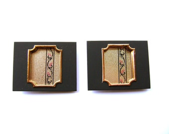 Japanese Door Pulls - Vintage Japanese - Traditional Japanese - Sliding Door Pulls - Vintage Door Pulls - Gold Black Pink Flowers B16