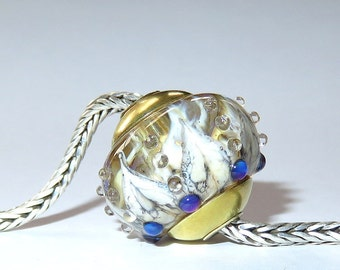 Luccicare Lampwork Bead - Sultan - FOCAL - Lined and Capped with Brass