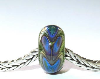 Luccicare Lampwork Bead - Dragon Scales III -  Lined with Sterling Silver