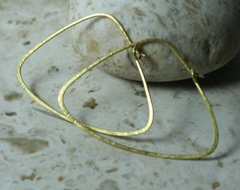 Handmade hammered gold plated large triangle hoop, one pair (item ID GT121G18)