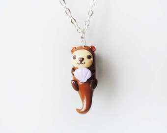 Kawaii Sea Otter Charm Necklace - Polymer Clay Jewelry