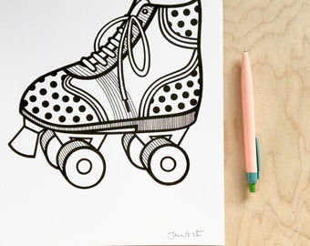 Scandi Retro Roller Skate screen print by Jane Foster  -  hand printed roller skates