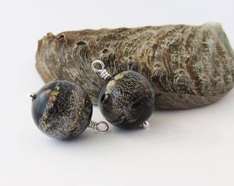 Black Murano Dichroic Glass Earrings with Gray and Coral Sparkles, Mother's Day Gift for Her, Evening Jewelry, Anytime Wear, Eye-Catching