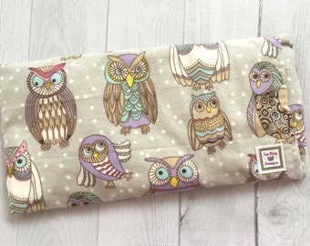 Flannel Microwavable Heating Pad, Aromatherapy, Hot Cold pack, Heat Therapy, Removable Cover, soothing, Fibromyalgia, Doula, wise Owls